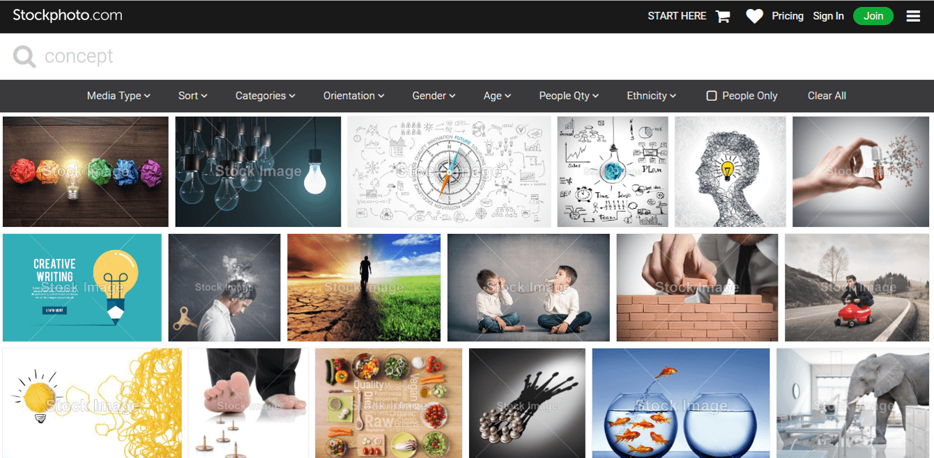 Stockphoto.com search results
