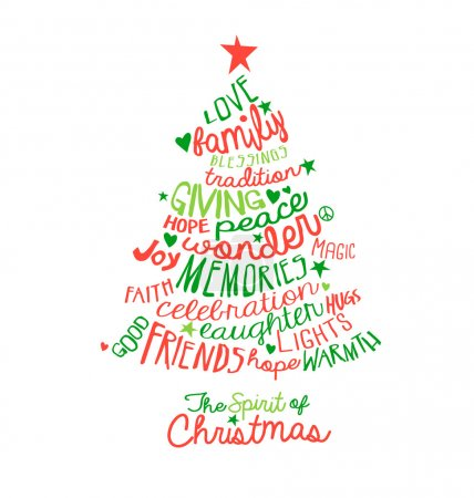 Stock Photos Christmas Card Word Cloud Tree Design