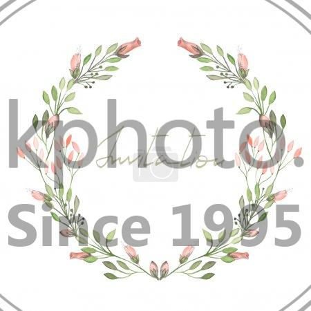 stock photo of frame border wreath of tender pink flowers and branches with green leaves