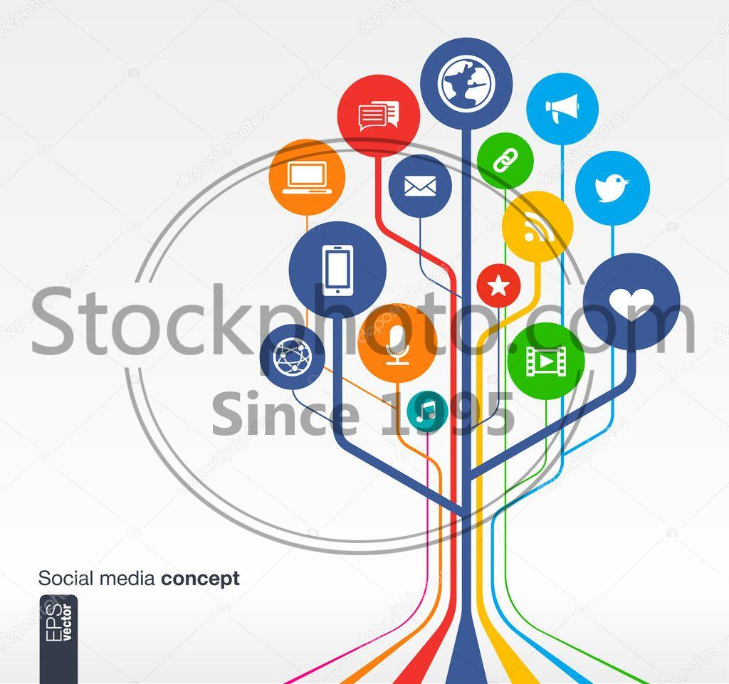 stock photos social media background with lines circles and icons