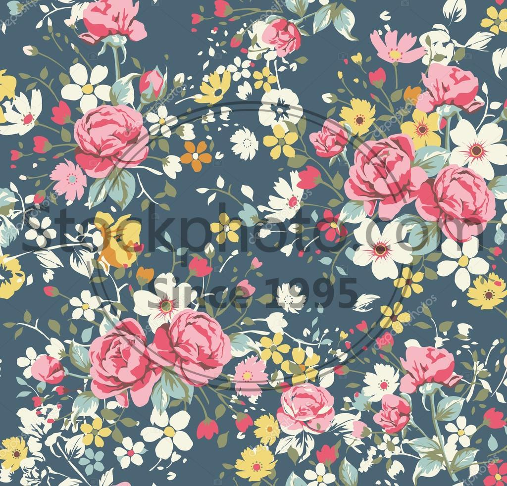 Stock Photos Wallpaper Vintage Rose Pattern On Navy Background
