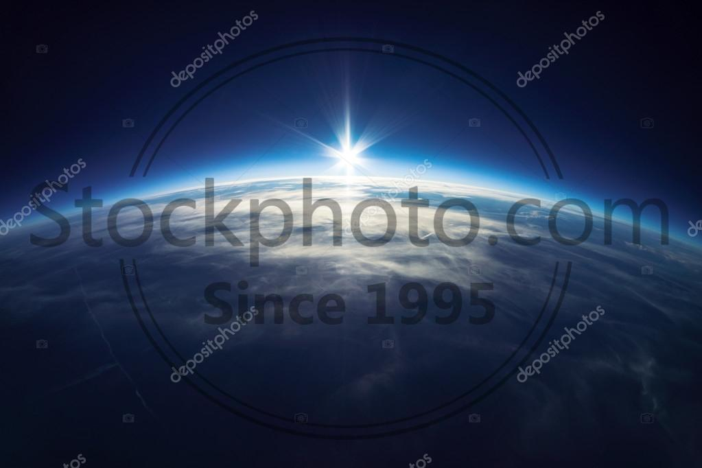 Earth from universe (taken 20km above ground) Real photo stock photo