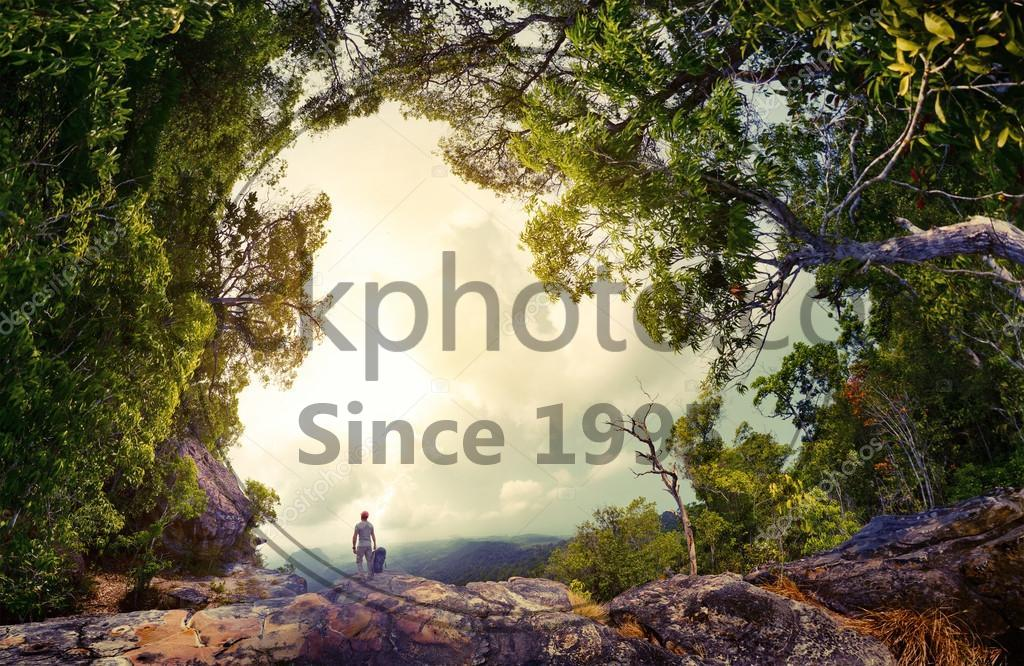 Stock photo of Hiker on the rock - Hiker with backpack standing on the rock surrounded by lush tropical forest