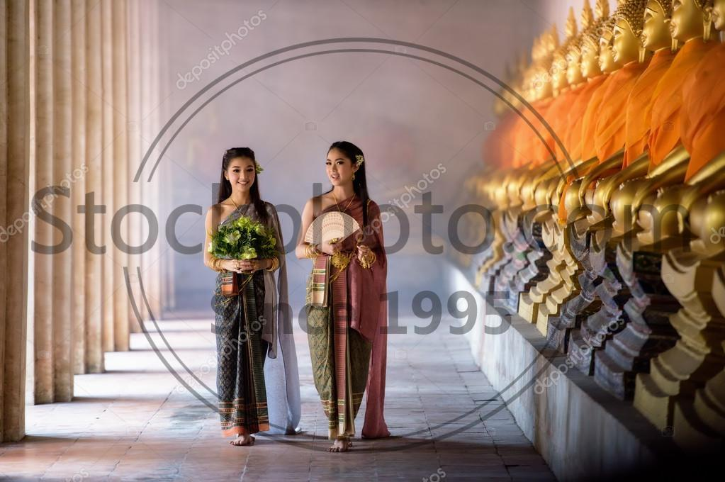 Stock photo of Beautiful Thai girl in Thai traditional costume - Beautiful Thai girl in Thai traditional costume