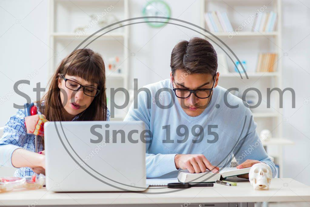 Stock photo of Two medical students studying in classroom - Two medical students studying in classroom