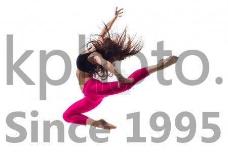 Stock photo of the dancer - Young beautiful dancer posing on studio background