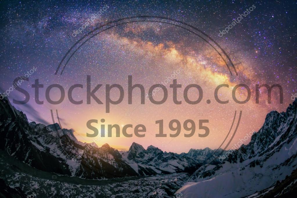 Stock photo of The dome of the Milky Way under the main Himalayan ridge. - There are 3 of the 5 highest mountains in world - Everest (8,850 m), Lhotse (8,516 m) and Makalu (8,485 m). And the biggest glacier lies underneath them - Ngonsumpa Glacier which is 36 km long. This picture is crowned by recently rised Moon and Venus