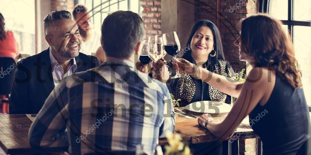 Stock photo of people in Restaurant Concept - Diversity people in Restaurant eating and drink Concept, original photoset