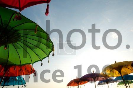 Stock photo of Beach Umbrellas, in Seminyak, Bali, Indonesia - This image shows Beach Umbrellas, in Seminyak, Bali, Indonesia