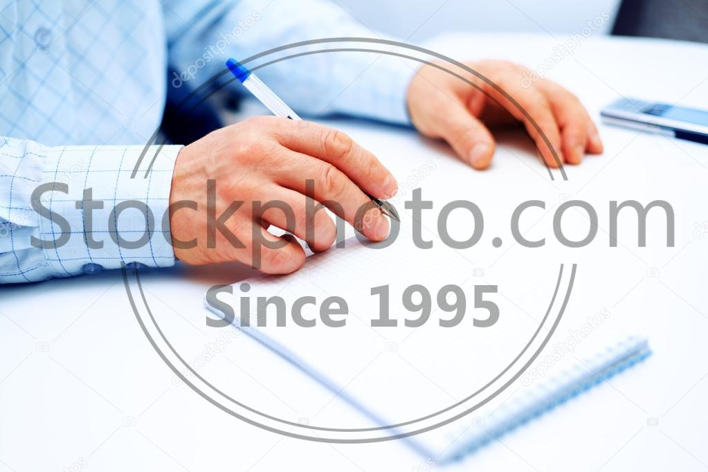 Stock photo of Image of businessman hand writing - Image of businessman hand writing